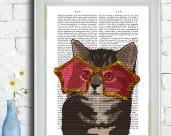 Kitten in Star Sunglasses, Rock Star cat poster, cat decor, cat illustration, cat picture, cat gift, cat lover, Cat Print, cat art