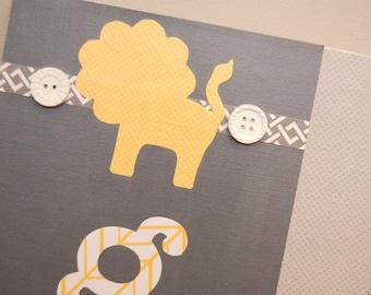 4 Foot Growth Chart, Animal Theme, Ruler, Hippo, Elephant, Lion and Giraffe, Yellow and Grey, Safari, Zoo Theme for Child or Baby