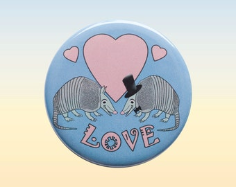 Armadillo Love, Texas Love, Button Armadillo Love, Armadillo Pin Back Button, Pink Rose and Purple Blue, Pin Back Button Badge