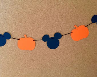 Pumpkin and Mickey garland, baby shower garland, Halloween garland, Mickey garland, birthday garland