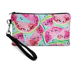 Fruit Cell Phone Wristlet, iPhone 8 Plus Bag, Watermelon Wristlet, Summer Phone  Purse, Padded Phone Purse - pink watermelon slices in blue