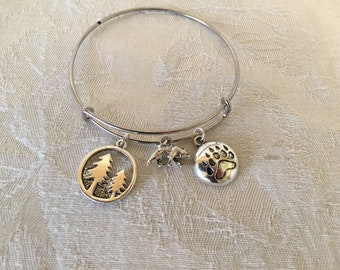 Bear Silver Tone Adjustable Wire Bangle Bracelet