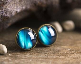 Aurora borealis earrings, arctic sky earrings, northern lights earrings, galaxy earrings, space earrings, stud earrings, post earrings