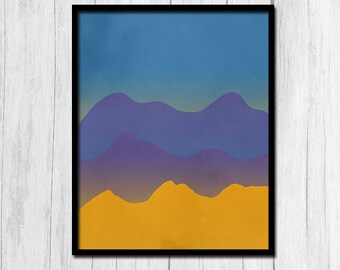 Mountain Print Digital Download Mountain Range Printable Art Nature Printable Sunset Print Instant Download Purple Mountains Printables