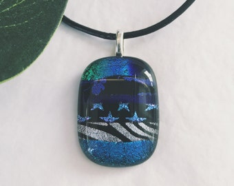 Dichroic glass pendant - Fused glass, Etched patterns, different shades of blues