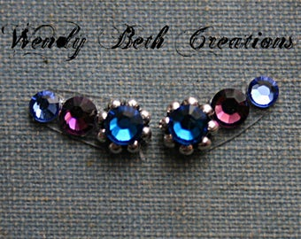 Purple Blues Accent Bindi Pair - ATS, Tribal Fusion, Belly Dance, Facial Jewelry, Purple, Third Eye, Blue