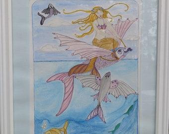 watercolor Mermaid on Flying Fish