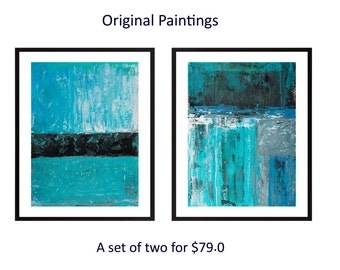Set of 2 painting Turquoise blue black Abstract painting modern art original landscape painting painting on paper wall art by qiqigallery