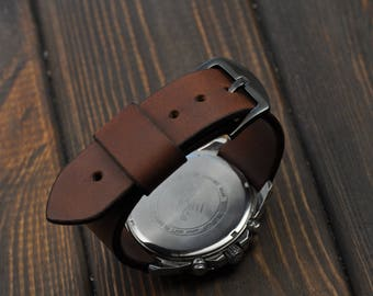 Handmade Leather Mens watch strap 16mm 18mm  20mm 22mm 24mm 26mm watch band