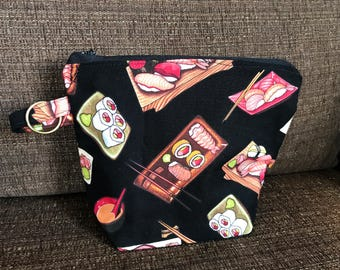 Sushi Fabric Zippy pouch and key ring.