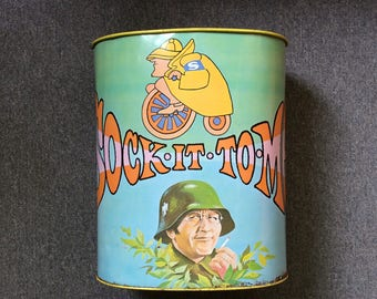 Vintage Laugh-In Collectible Trash Can, 1960s TV, Rowan & Martin, Goldie Hawn, Sock it to Me