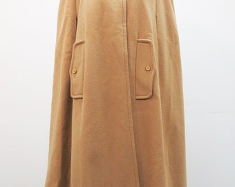 60's Hooded Wool Cape Camel Colored with Full Hood and Pockets MEDIUM / LARGE