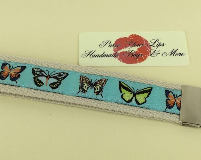 Key Fob Wristlet Key Ring Chain Wrist Strap Lanyard Wedding Favours Butterflies Butteryfly