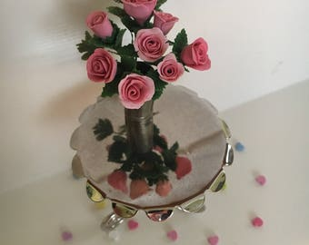 Large Miniature Vase of Roses