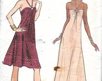 Vtg Vogue 8724 Misses Halter And Evening Dress Sewing Pattern, Size 14, UNCUT
