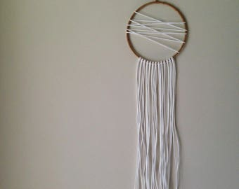 "Dreamcatcher ~ Scandi Boho  | 7.5"" White Bohemian Dream Catcher | Small Minimalist Design Wall Hanging"