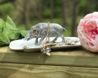 Wild Boar Jewelry Holder, Large Wild Boar Ring Holder, Catch All, Jewelry Dish, Home Decor