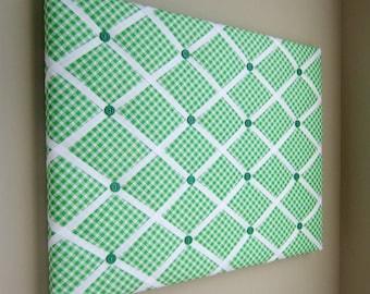 "16""x20"" Memory Board, Bow Holder, Bow Board, Vision Board, Photograph Holder, Ribbon Board, Green & White Check Bias"