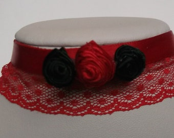 Rose choker, Flower choker, Fabric choker, Choker necklace, Gothic choker, Ribbon choker, Lace choker, Red and black choker, bridal choker
