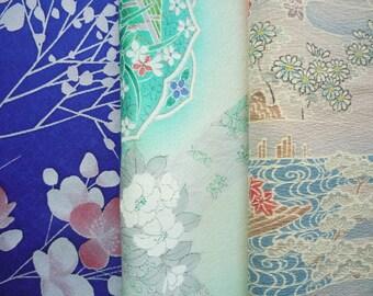 Set of 3 Vintage Silk Kimono Scrap Set, Craft Supply, Japanese Fabric, Blue Green Brown Set