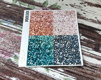 FOIL Poolside Glitter Headers , Foil Planner Stickers