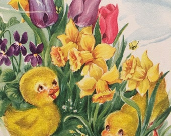 Vintage Easter Card 1950s Flowers Ducks Tulips Daffodils Brother Spring Flocking