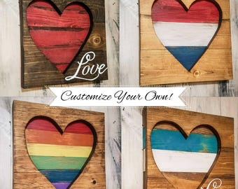 MULT. COLOR OPTIONS! Personalize! 12x12Heart Wall Art Decor Distressed Rustic Love- Custom Make Your Own red orange yellow green blue purple