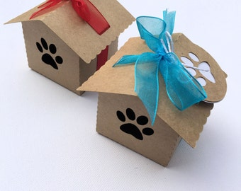 Kraft dog paw dog house gift boxes - party favors. Pet lover Gifts, birthday, shop packaging, Bonbonniere. Dog or Cat paws. Birdhouse favor.