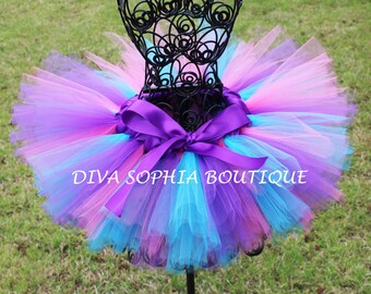 Pretty Pink, Purple and Turquoise Tutu - Birthday Tutu