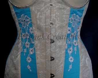 Blue lace and Swarovski Underbust Corset