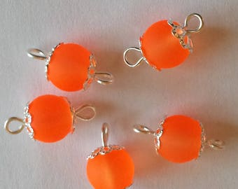 glass 8mm orange frosted 5 connectors beads