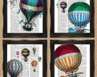 Vintage Hot Air Balloons Dictionary Print Set of 4 Upcycled Book Art 8x10 inches A133