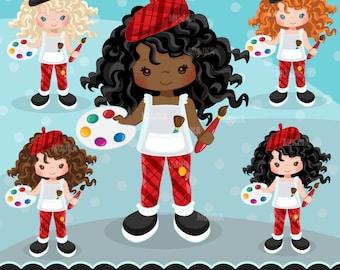 Artist painter Clipart. Crafty girl graphic, students, art party birthday, paint brush, invitation, planner sticker, scrapbooking, activity