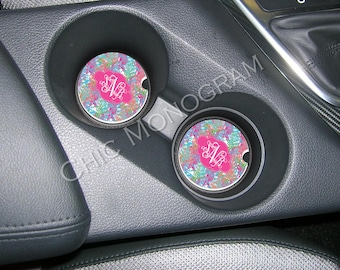 Monogrammed Car Coasters Cup Holder Coasters Design Your Own Personalized Sandstone Coasters Car Accessories For Women Lilly Inspired