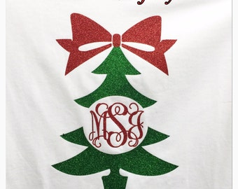 Christmas monogram shirt holiday monogram shirt glitter monogram shirt personalized monogram longsleeve shirt Christmas tree shirt