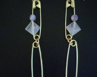 Brass Beaded Safety Pin Drop Earrings