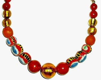 "KIFFA VENETIAN GLASS Ghana Krobo glass 16 5/8"" necklace, Murano foil gold,coral,rust,apricot,lemon,blue,white"