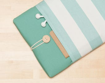 Laptop case / 12 inch macbook case / macbook 11 cover / Laptop sleeve, padded with pockets  - Teal stripes -