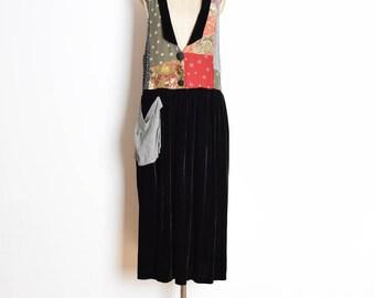 vintage 90s dress, 90s patchwork dress, black velvet dress, 90s clothing, 90s maxi dress, deep v dress, floral print dress, floral patchwork
