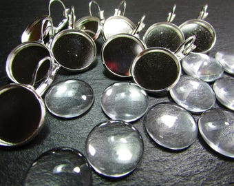 Set of 5 pairs of stud earrings 925 sterling silver and 10 cabochons