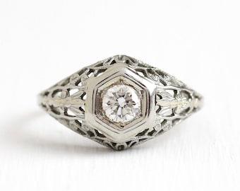 Sale - Vintage Diamond Ring - 18k White Gold Filigree Art Deco Solitaire 1/3 Carat - 1920s Size 6 3/4 Vintage Fine Engagement Bridal Jewelry