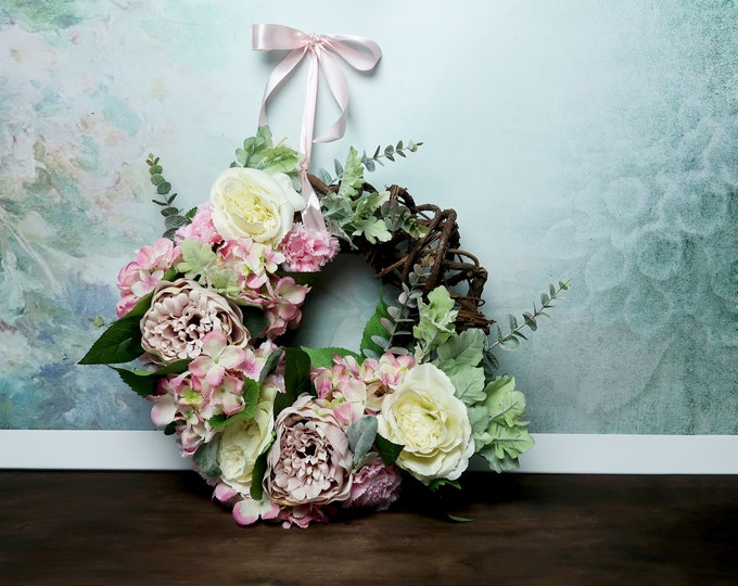 Spring floral wreath pastel pink cream beige greenery hanging arrangement mothers day gift home decor roses hydrangea rustic wine wire boho