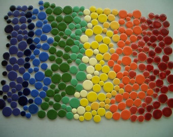 350RD - 350 pc RAINBOW DOTS - Ceramic Mosaic Tiles