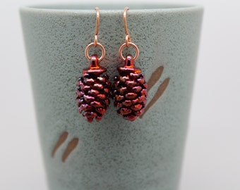 Iridescent Copper Cone Earrings