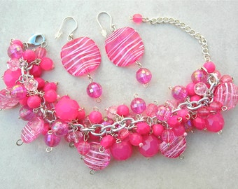 Cotton Candy, Mix of Glass, Crystal, Lucite & Plastic Pink Beads, Bracelet Can Be a Necklace, Bracelet and Earrings Set by SandraDesigns