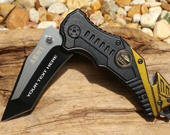Laser Engraved Army Logo Knife