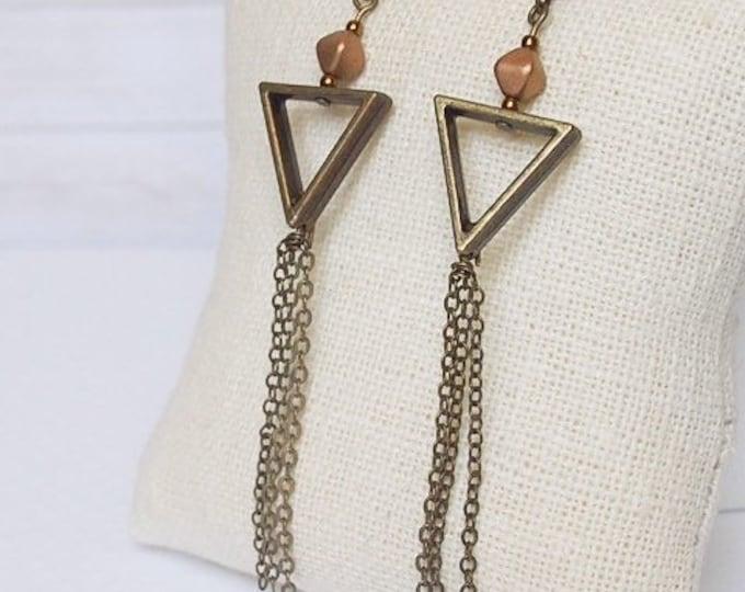 Bronze Calypso Dangle Earrings, Boho Jewelry, Bronze Jewelry, Chain Jewelry, Triangle Jewelry, Geometric jewelry
