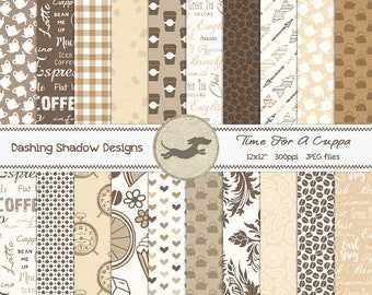 """Digital Printable Scrapbook Craft Paper - Time For A Cuppa - Coffee Tea Cafe Bean Teapot Word Art Brown - 12 x 12"""" - PU/CU Commercial Use"""