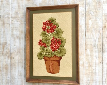VintageFramed Needlepoint Art, Red Geraniums in a Pot, Framed and Matted, Wall Decor, Cottage Floral