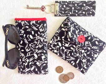 Music Gift Set, Three Handmade Fabric Gifts, Glasses Sleeve plus Purse plus Key Fob, Gift for Musicians, Unisex Black and White Gift Idea